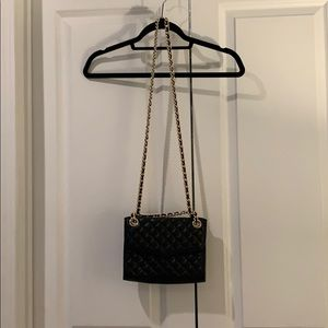 Rebecca Minkoff Cross Body Black Bag Gold Chain